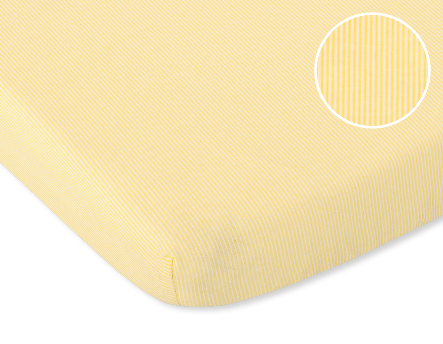 drap housse pour lit de b b 120 x 60 cm 100 coton de coloris jaune lignes. Black Bedroom Furniture Sets. Home Design Ideas