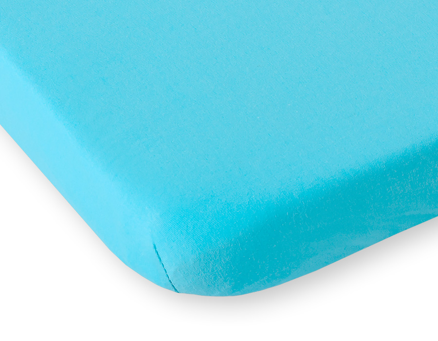 drap housse pour lit de b b 120 x 60 cm coton jersey de coloris turquoise. Black Bedroom Furniture Sets. Home Design Ideas
